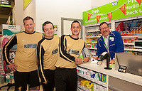 Footballers from The White Swan FC popped into the Pharmacy at ASDA Newark to try out their new free blood pressure testing service. Pictured from left are Peter Culpin, Alvin Sheldon, Ashley Dearlove and Dispensing Assistant Sam Maxwell