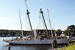 Sailing ship Amazon at dock in Mystic Seaport in Connecticut USA