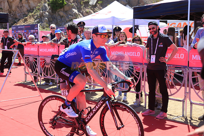 Pavel Brutt (RUS) Gazprom-Rusvelo heads to sign on at Arbatax before the start of Stage 3 of the 100th edition of the Giro d'Italia 2017, running 148km from Tortoli to Cagliari, Sardinia, Italy. 7th May 2017.<br /> Picture: Eoin Clarke | Cyclefile<br /> <br /> <br /> All photos usage must carry mandatory copyright credit (&copy; Cyclefile | Eoin Clarke)