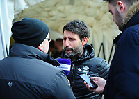Lincoln City manager Danny Cowley speaks to the press during the pre-match warm-up<br /> <br /> Photographer Andrew Vaughan/CameraSport<br /> <br /> The EFL Sky Bet League Two - Lincoln City v Forest Green Rovers - Saturday 3rd November 2018 - Sincil Bank - Lincoln<br /> <br /> World Copyright &copy; 2018 CameraSport. All rights reserved. 43 Linden Ave. Countesthorpe. Leicester. England. LE8 5PG - Tel: +44 (0) 116 277 4147 - admin@camerasport.com - www.camerasport.com