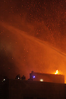 November 8, 2012 - Montreal, Quebec,  Major fire on St-Antoine street beside PLace d'Armes boutique hotel in Old-Montreal