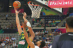 07.09.2014. Barcelona, Spain. 2014 FIBA Basketball World Cup, round of 16. Picture show J. Valanciunas  in action during game between New Zealand   v  Lithuania at Palau St. Jordi