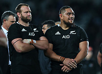 Joe Moody and Ofa Tuungafasi after the Bledisloe Cup rugby match between the New Zealand All Blacks and Australia Wallabies at Eden Park in Auckland, New Zealand on Saturday, 17 August 2019. Photo: Simon Watts / lintottphoto.co.nz