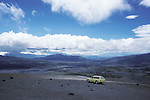 Andean Mountains, Chimborazo Plateau, with car in foreground, Ecuador, South America