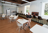 Brian Newhall '83, Head Men's Basketball Coach<br /> Occidental College's newly remodeled Department of Athletics offices on March 13, 2019.<br /> (Photo by Marc Campos, Occidental College Photographer)