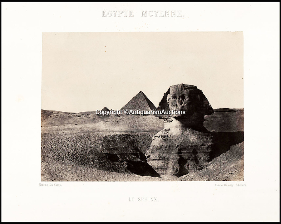 BNPS.co.uk (01202 558833)<br /> Pic: AntiquarianAuctions/BNPS<br /> <br /> The Sphinx outside Cairo - before the sands of time had been cleared away. <br /> <br /> First Impression's - earliest prints of ancient Egypt uncovered <br /> <br /> Calotypes from the 1840's revealed the stunning architecture of the ancient civilisation to the Victorian public for the first time.<br /> <br /> The stunning collection - comprising 59 black and white images of sights including the pyramids, the Sphinx and statues at Aswan - is among the first known volumes of travel photography.<br /> <br /> Produced at a time when camera technology was still in its infancy, they were captured by Maxime Du Camp, the son of a wealthy French surgeon, between 1849 and 1851 during a government-funded expedition with his friend and literary great Gustave Flaubert.<br /> <br /> They are being sold by Antiquarian Auctions in an online sale which ends on Thursday.