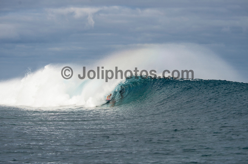 Namotu Island Resort, Namotu, Fiji. (Tuesday May 6, 2014) –  There were small waves in the 3' range today.There were sessions at Wilkes Pass, Namotu Lefts and Cloudbreak through the day but the swell stayed on the small size with South East Trades blowing all day. Photo: joliphotos.com