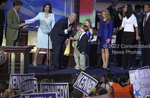 Boston, MA - July 27, 2004 -- United States Senator Ted Kennedy (Democrat of Massachusetts) and his family on the podium after speaking at the 2004 Democratic National Convention in Boston, Massachusetts on July 27, 2004..Credit: Ron Sachs / CNP