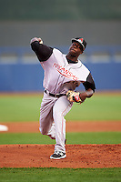 Arkansas Travelers starting pitcher Victor Alcantara (40) delivers a pitch during a game against the Tulsa Drillers on April 25, 2016 at ONEOK Field in Tulsa, Oklahoma.  Tulsa defeated Arkansas 4-3.  (Mike Janes/Four Seam Images)