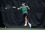 27 January 2017: Notre Dame's Guillermo Cabrera (PER). The University of North Carolina Tar Heels hosted the University of Notre Dame Fighting Irish at the Cone-enfield Tennis Center in Chapel Hill, North Carolina in the first round of the Intercollegiate Tennis Association Men's Indoor Team Championship. North Carolina won the match 4-0.