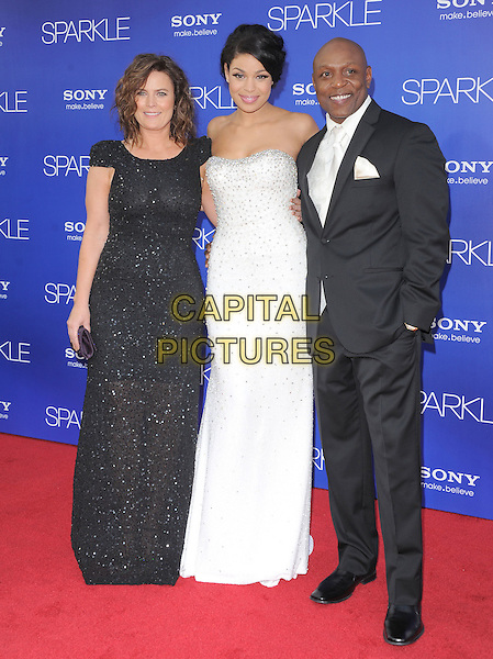 Jodi Spraks, Jordin Sparks, Phillipi Sparks.World Premiere of 'SPARKLE' held at The Grauman's Chinese Theatre in Hollywood, California, USA..August 16th, 2012 .full length dress silver white strapless embellished jewel encrusted black sparkly suit mother mom mum father dad daughter family    .CAP/RKE/DVS.©DVS/RockinExposures/Capital Pictures.