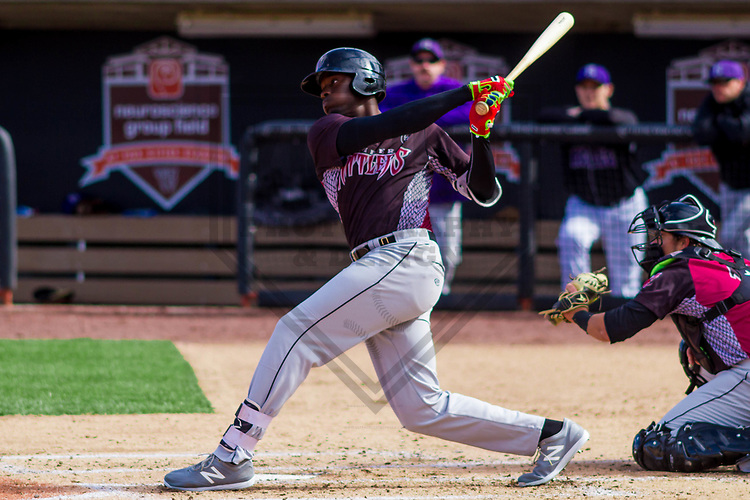 Wisconsin Timber Rattlers outfielder Demi Orimoloye (6) during a fan fest scrimmage against the Mellen Rockies on April 4th, 2017 at Fox Cities Stadium in Appleton, Wisconsin.  (Brad Krause/Krause Sports Photography)