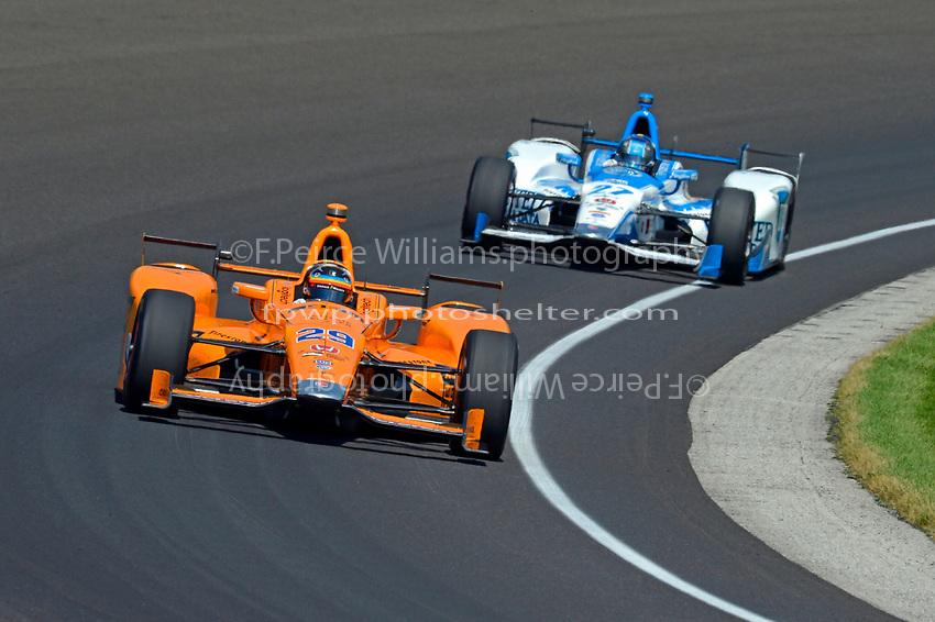 Verizon IndyCar Series<br /> Indianapolis 500 Carb Day<br /> Indianapolis Motor Speedway, Indianapolis, IN USA<br /> Friday 26 May 2017<br /> Fernando Alonso, McLaren-Honda-Andretti Honda, Marco Andretti, Andretti Autosport with Yarrow Honda<br /> World Copyright: F. Peirce Williams