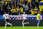 Solna 2015-09-08 Fotboll EM-kval , Sverige - &Ouml;sterrike :  <br /> &Ouml;sterrikes Marc Janko firar sitt 0-3 m&aring;l framf&ouml;r deppande svenska supportrar under matchen mellan Sverige och &Ouml;sterrike <br /> (Photo: Kenta J&ouml;nsson) Keywords:  Sweden Sverige Solna Stockholm Friends Arena EM Kval EM-kval UEFA Euro European 2016 Qualifying Group Grupp G &Ouml;sterrike Austria jubel gl&auml;dje lycka glad happy supporter fans publik supporters depp besviken besvikelse sorg ledsen deppig nedst&auml;md uppgiven sad disappointment disappointed dejected