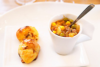 Very traditional stew of vegetables corn beans and meat served in a cup with puff pastry Bodega Del Anelo Winery, also called Finca Roja, Anelo Region, Neuquen, Patagonia, Argentina, South America