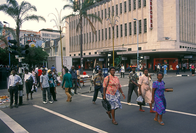 Intersection, pedestrian crosswalk, Harare, Harare Province, Zimbabwe, Africa
