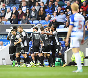 30th September 2017, Madejski Stadium, Reading, England; EFL Championship football, Reading versus Norwich City; Norwich City celebrate James Maddison's goal