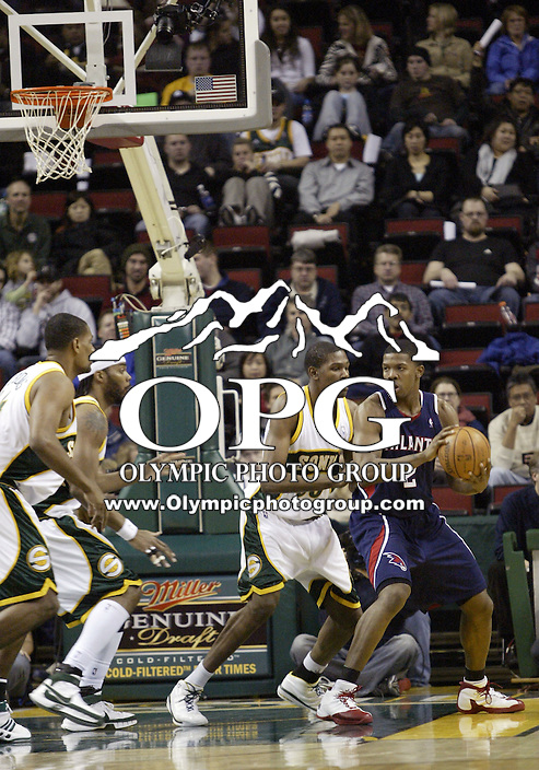 January 25, 2008:  Seattle Supersonics Kevin Durant  against the Atlanta Hawks at Key Arena.  The Atlanta Hawks won 99-90 over the Seattle SuperSonics at Key Arena in Seattle, WA.