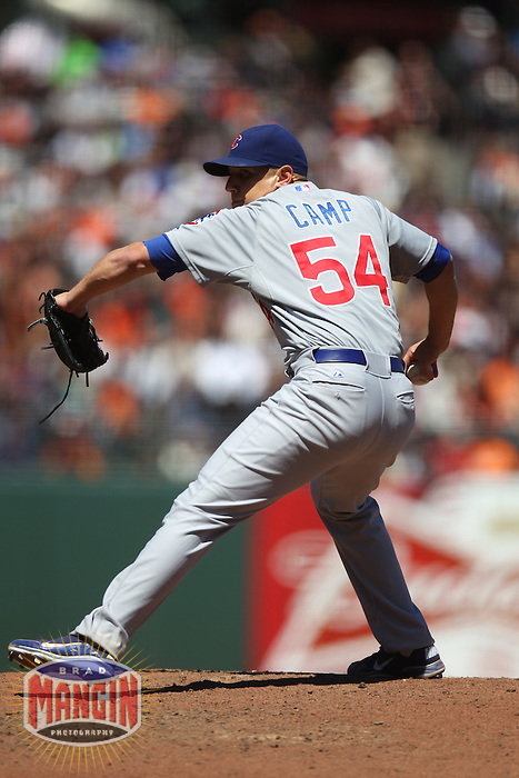 SAN FRANCISCO, CA - JUNE 3:  Shawn Camp #54 of the Chicago Cubs pitches against the San Francisco Giants during the game at AT&T Park on Sunday, June 3, 2012 in San Francisco, California. Photo by Brad Mangin
