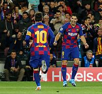 27th November 2019; Camp Nou, Barcelona, Catalonia, Spain; UEFA Champions League Football, Barcelona versus Borussia Dortmund;  Luis Suarez celebrates after scoring his goal in the 29th minute for 1-0 - Editorial Use