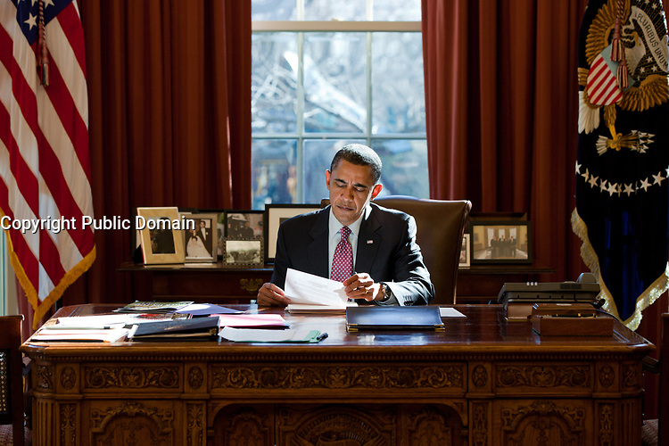 President Barack Obama reviews his prepared remarks on Egypt at the Resolute Desk in the Oval Office, Feb. 11, 2011. (Official White House Photo by Pete Souza)<br /> <br /> This official White House photograph is being made available only for publication by news organizations and/or for personal use printing by the subject(s) of the photograph. The photograph may not be manipulated in any way and may not be used in commercial or political materials, advertisements, emails, products, promotions that in any way suggests approval or endorsement of the President, the First Family, or the White House.
