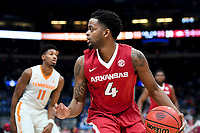 NWA Democrat-Gazette/CHARLIE KAIJO Arkansas Razorbacks guard Daryl Macon (4) looks to pass during the Southeastern Conference Men's Basketball Tournament semifinals, Saturday, March 10, 2018 at Scottrade Center in St. Louis, Mo. The Tennessee Volunteers knocked off the Arkansas Razorbacks 84-66