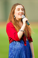 Danielle Muawad sings the National Anthem prior to the Carolina League game between the Myrtle Beach Pelicans and the Winston-Salem Dash at BB&T Ballpark on July 5, 2012 in Winston-Salem, North Carolina.  The Dash defeated the Pelicans 12-5.  (Brian Westerholt/Four Seam Images)