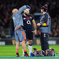Joe Marler of England has strapping applied after a boot to the face. Old Mutual Wealth Series International match between England and Argentina on November 26, 2016 at Twickenham Stadium in London, England. Photo by: Patrick Khachfe / Onside Images
