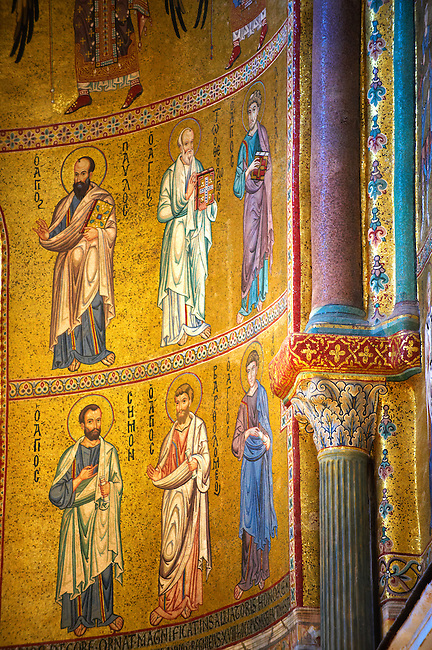Byzantine mosaics of Christ , Mary and the Apostles at the Cathedral, Duomo of Cefalu [Cefaú] Sicily