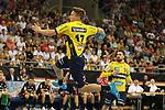Torschuss von Rhein Neckar Loewe Jerry Tollbring (Nr.17)  beim Spiel in der Handball Bundesliga, SG BBM Bietigheim - Rhein Neckar Loewen.<br /> <br /> Foto &copy; PIX-Sportfotos *** Foto ist honorarpflichtig! *** Auf Anfrage in hoeherer Qualitaet/Aufloesung. Belegexemplar erbeten. Veroeffentlichung ausschliesslich fuer journalistisch-publizistische Zwecke. For editorial use only.