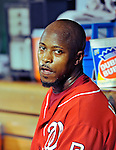 24 September 2010: Washington Nationals utilityman Willie Harris catches his breath in the dugout after hitting an inside-the-park home run against the Atlanta Braves at Nationals Park in Washington, DC. The Nationals defeated the Braves 8-3 to take the first game of their 3-game series. Mandatory Credit: Ed Wolfstein Photo