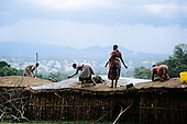 Lolgorian, Kenya. Siria Maasai; women on the rooftop resurfacing it with cattle dung; Eunoto coming of age ceremony.