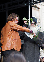 November 13 2017, PARIS FRANCE<br /> the President of France Emmanuel Macron<br /> honors the victims of the 13 november 2015<br /> in the scenes of attacks. Jesse Hughes gives flowers to the people. # HOMMAGE AUX VICTIMES DES ATTENTATS DU 13 NOVEMBRE 2015