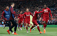 Liverpool's Divock Origi (right) is joined by Trent Alexander-Arnold (left) and Xherdan Shaqiri as he celebrates scoring his side's fourth goal <br /> <br /> Photographer Rich Linley/CameraSport<br /> <br /> UEFA Champions League Semi-Final 2nd Leg - Liverpool v Barcelona - Tuesday May 7th 2019 - Anfield - Liverpool<br />  <br /> World Copyright &copy; 2018 CameraSport. All rights reserved. 43 Linden Ave. Countesthorpe. Leicester. England. LE8 5PG - Tel: +44 (0) 116 277 4147 - admin@camerasport.com - www.camerasport.com