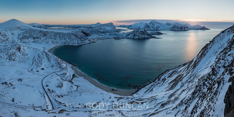 Winter view over Haukland beach from Mannen, Vestvågøy, Lofoten Islands, Norway