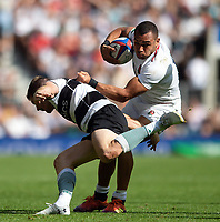 Joe Marchant of the England XV looks to get past Colin Slade of the Barbarians. Quilter Cup International match between England XV and the Barbarians on June 2, 2019 at Twickenham Stadium in London, England. Photo by: Patrick Khachfe / Onside Images