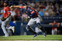 New Hampshire Fisher Cats catcher Riley Adams (22) throws to first base for the out during an Eastern League game against the Trenton Thunder on August 20, 2019 at Arm & Hammer Park in Trenton, New Jersey.  New Hampshire defeated Trenton 7-2.  (Mike Janes/Four Seam Images)