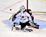 15 October 2009: Colorado Avalanche goaltender Craig Anderson makes a save in the second period against the Montreal Canadiens at the Bell Centre in Montreal, Quebec, Canada. The Avalanche defeated the Canadiens 3-2 in the home opening game for the Habs. Mandatory Credit: Ed Wolfstein Photo
