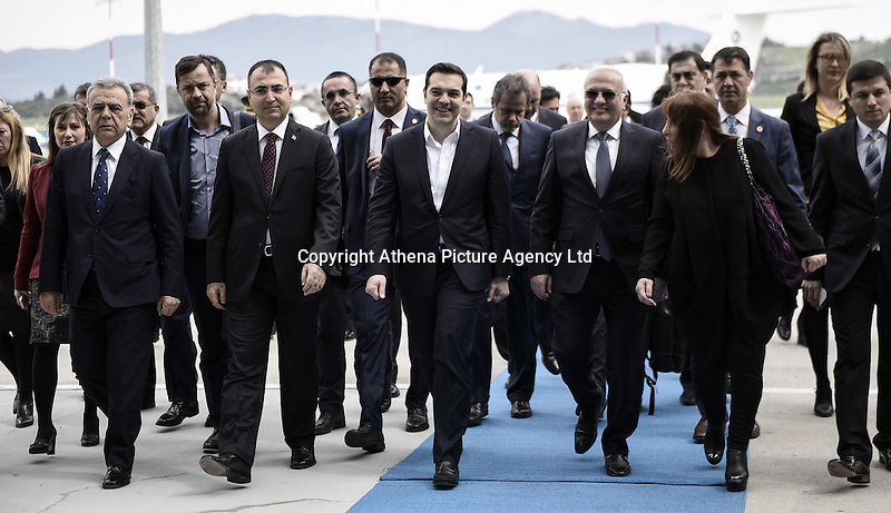 Pictured: Greek Prime Minister Alexis Tsipras with his entourage arrives at the airport Tuesday 08 March 2016<br /> Re: The Prime Ministers of Turkey Ahmet Davutoglu and Greece Alexis Tsipras have met in Smyrna, Turkey to discuss ways to enhance their cooperation as both countries are grappling with an influx of migrants,