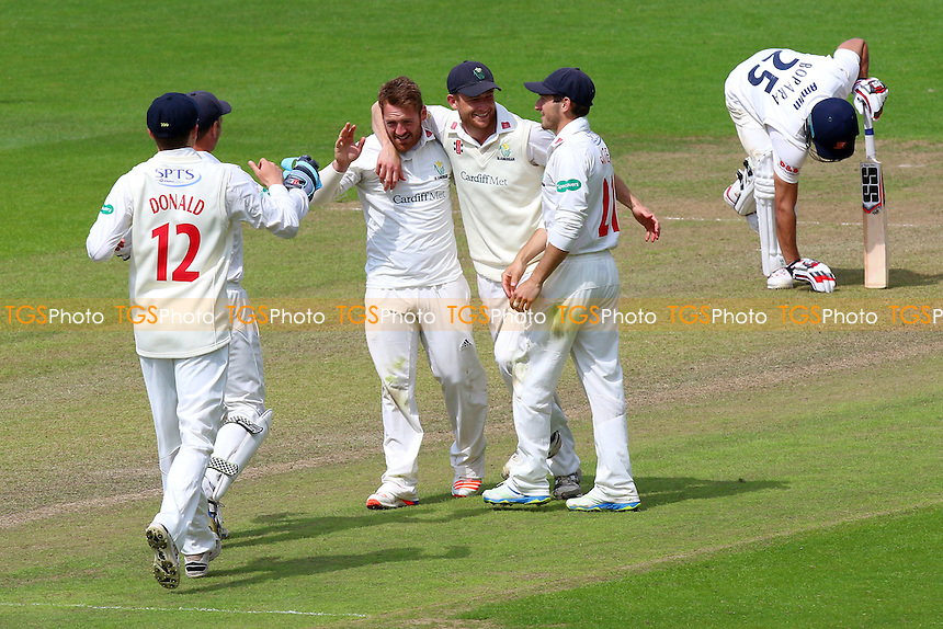 David Lloyd of Glamorgan (C) celebrates taking the wicket of Daniel Lawrence during Glamorgan CCC vs Essex CCC, Specsavers County Championship Division 2 Cricket at the SSE SWALEC Stadium on 23rd May 2016