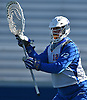 Jack Concannon #12, Hofstra University goalie, squares to a shooter during a scrimmage against Hobart College at Hofstra University on Saturday, Feb. 4, 2017.