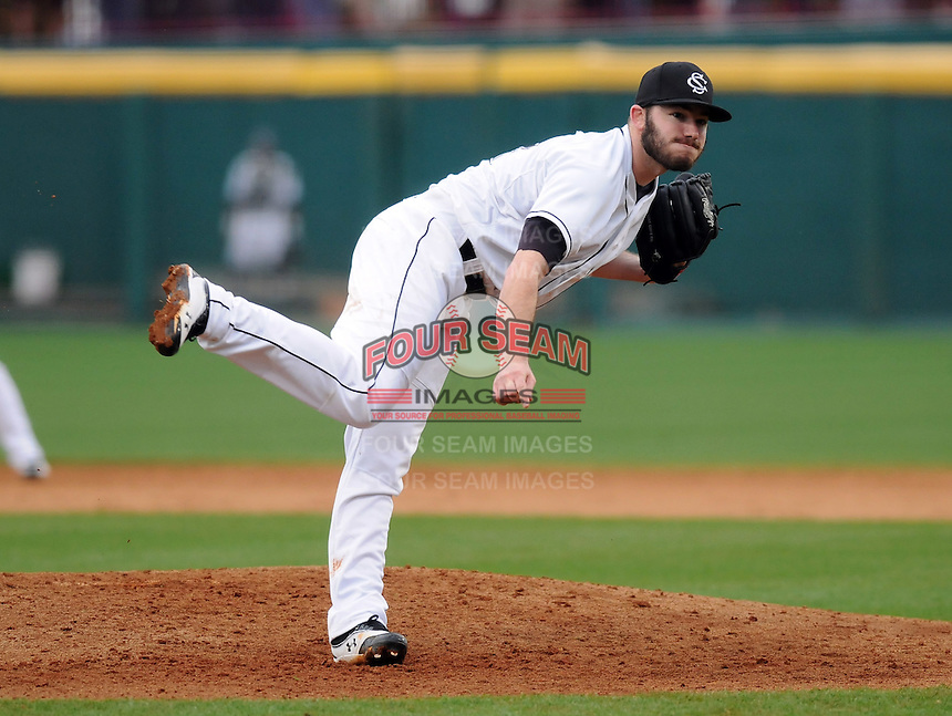 Starting pitcher Matt Price (22) of the South Carolina Gamecocks pitches in a game against the Clemson Tigers on March 3, 2012, at Carolina Stadium in Columbia, South Carolina. South Carolina won, 9-6. (Tom Priddy/Four Seam Images)