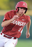 NWA Democrat-Gazette/ANDY SHUPE<br />Arkansas shortstop Jax Biggers heads to the plate against Memphis Tuesday, April 18, 2017, to score on a two-run double by left fielder Jake Arledge during the second inning at Baum Stadium. Visit nwadg.com/photos to see more photographs from the game.