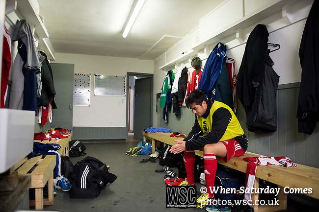 Whitehawk 2 Eastbourne Borough 0, 26/12/2014. The Enclosed Ground, Vanarama Conference South. Gerardo Bruna in the changing rooms prior to kick off. Bruna spent five years in the youth set-up at Real Madrid from 2002 to 2007. In the summer of 2007 Bruna moved to England to sign for Liverpool, having been offered and turned down a professional contract by Real Madrid. Photo by Simon Gill.