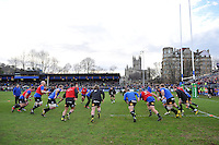 The Bath Rugby team warm up prior to the match. European Rugby Champions Cup match, between Bath Rugby and RC Toulon on January 23, 2016 at the Recreation Ground in Bath, England. Photo by: Patrick Khachfe / Onside Images