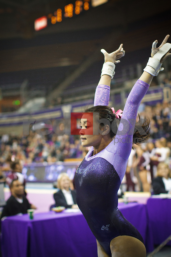 Phoebe Tham..----Washington Huskies gymnastics tri-meet vs Louisiana State University and Seattle Pacific University at Alaska Airlines Arena at Hec Edmundson Pavilion in Seattle on Friday, February 17, 2012. (Photo by Dan DeLong/Red Box Pictures)