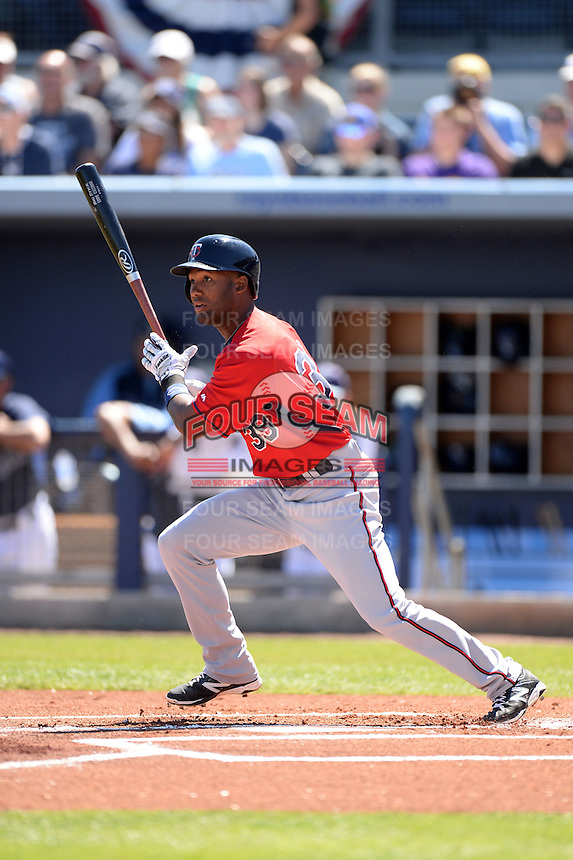 Infielder Danny Santana (39) of the Minnesota Twins during a spring training game against the Tampa Bay Rays on March 2, 2014 at Charlotte Sports Park in Port Charlotte, Florida.  Tampa Bay defeated Minnesota 6-3.  (Mike Janes/Four Seam Images)