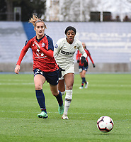 20190113 - LILLE , FRANCE : LOSC's Morgane Nicoli (L) and PSG's Ashley Lawrence (R) pictured during women soccer game between the women teams of Lille OSC and Paris Saint Germain  during the 16 th matchday for the Championship D1 Feminines at stade Lille Metropole , Sunday 13th of January 2019,  PHOTO Dirk Vuylsteke | Sportpix.Be