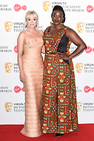 Helen George and Wunmi Mosaku in the winners room for the BAFTA TV Awards 2018 at the Royal Festival Hall, London, UK. <br /> 13 May  2018<br /> Picture: Steve Vas/Featureflash/SilverHub 0208 004 5359 sales@silverhubmedia.com