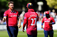 Matt Coles of Essex is congratulated on taking the wicket of Luke Wright during Sussex Sharks vs Essex Eagles, Royal London One-Day Cup Cricket at The Saffrons on 3rd June 2018